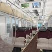 5000系の車内イメージ。ロング・クロス転換座席を設置し、「座席指定列車」ではクロスシートの状態で運行する。
