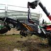 クラッシュしたアロンソのマシン、ドライバーは無事だった