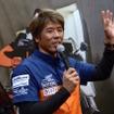 ダカールラリーで完走を果たした三橋淳選手のトークショー。