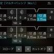 ダイヤトーンサウンドナビ(プレミアムモデル)の「クロスオーバー」調整画面。