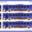 若桜鉄道が発表した車両のデザイン案。WT3000形をリニューアルして導入する。