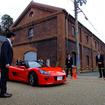 京都府舞鶴市の赤れんがパークで3月21日から始まったトミーカイラZZ量産開始記念展示(写真は初日の報道発表会のようす)