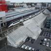 このほど完成した京成成田駅南側法面の補強工事。2013年の水害で土砂が流出した。