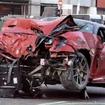 シンガポールで事故を起したフェラーリ599GTO(動画キャプチャー)
