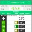 JR東日本が3月10日からサービスを開始する「JR東日本アプリ」の画面イメージ。画像は「山手線トレインネット」で提供される、車内の混雑状況と温度を表示する画面
