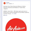Facebookに掲載したエアアジアの謝罪文