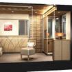 スイートルームは15室で、うち1室はバリアフリーに対応する。画像はスイートルームの透視イメージ。