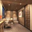 スイートルームの室内イメージ。「きめ細やかな日本の美意識をモダンな意匠に盛り込みながら、フラットなフロア構成による穏やかな空間」にする。