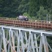 鉄道橋としては日本一の高さを誇っていた高千穂橋りょう。高千穂線の廃止後は事実上放置されていたが、2013年から高千穂あまてらす鉄道のスーパーカートが走るようになった。