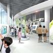 新館2階に設ける「未来」ステーションのイメージ。来館者のアバターが大型映像ジオラマに入り込んで、未来の鉄道を体験できるようにする。
