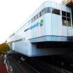千葉みなと駅は、2階部分に改札口、3階部分にホームがある(11月30日、千葉モノレール実証実験「サイクル&モノレール」)