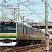 東武伊勢崎線の下をくぐる東北線の下り列車(栗橋付近)