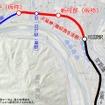 可部線延伸区間の路線図。可部~三段峡間の廃線区間を一部復活させる形になる。