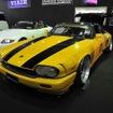 エアサスペンションのメーカーであるユニバーサルエア(大阪府堺市)のジャガー XJ-S。1980年代に流行ったケイニッヒ仕様をイメージしてワンオフのエアロパーツで製作(大阪オートメッセ15)
