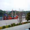 九十九島パールシーリゾートの遊覧船。今春、日本初の電気推進遊覧船となる九十九島海賊遊覧船「みらい」がデビューする