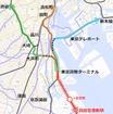 JR東日本の構想している羽田空港アクセス線のルート。東海道本線貨物支線を活用する。