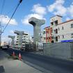 汀良交差点の北側で準備されているモノレール用橋脚(C地点)