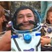 地上に帰還した42Sクルー(左からアンドレアス・モーゲンセン氏、アイディン・アイムベトフ氏、ゲナディ・パダルカ氏)