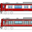 2007年から導入されている車両は一部無塗装としたステンレス車体(下)だが、1800番台は赤白のフィルムで全体を装飾(上)。従来のアルミ車のイメージに近づける。