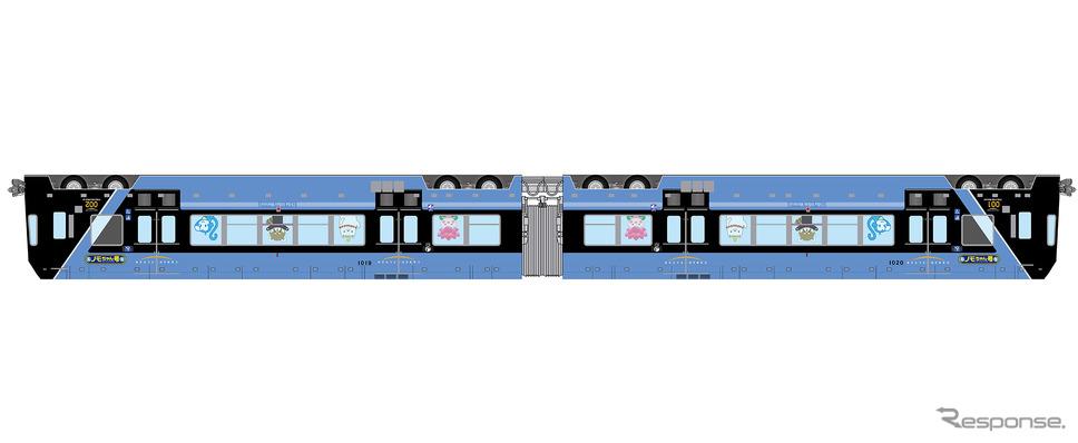 1月15日から運行される「ノモちゃん号」のイメージ。千葉モノレールのマスコットキャラクター「モノちゃん」などを逆さまにして車体を装飾する。