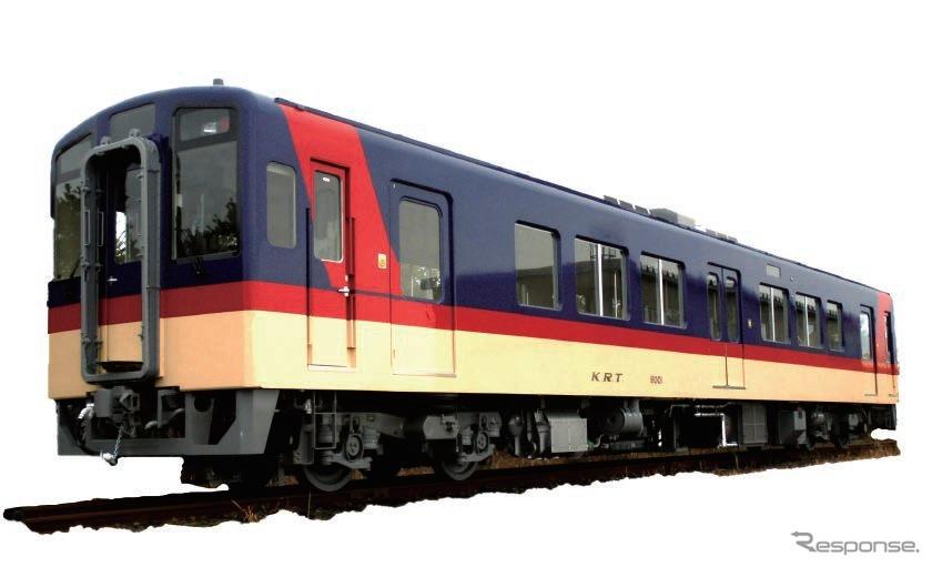 3月から営業運行を開始する8000形。従来の6000形とは異なる塗装に変更されたほか、ドアが1カ所増えた。