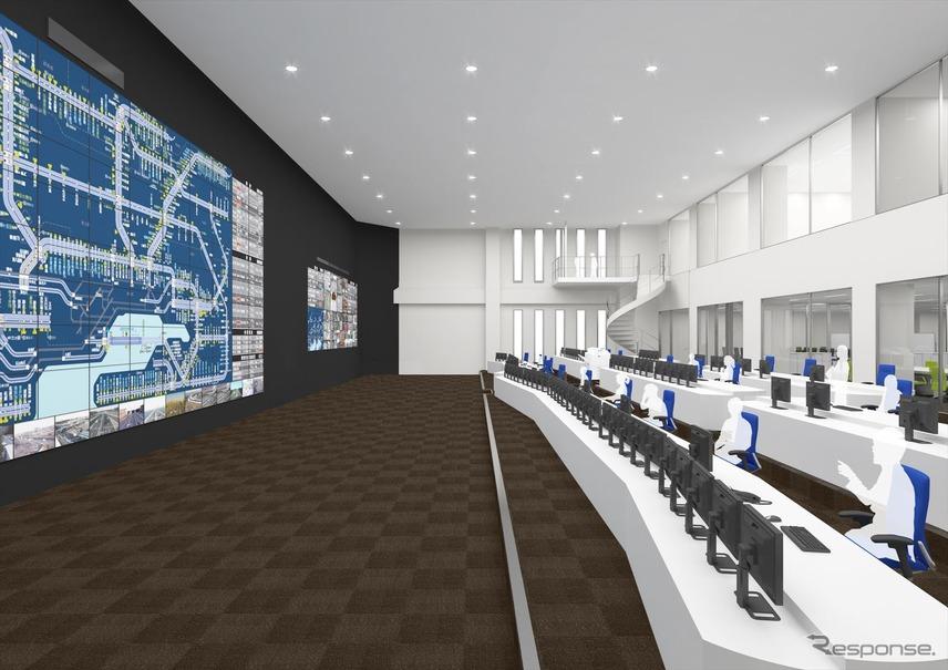 国内最高水準の耐震基準を採用し、機器免震を施す東日本高速関東支社新管制センター完成図