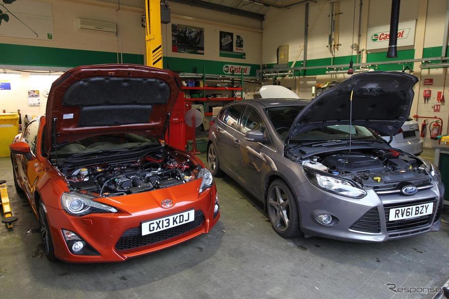 カストロール「ネクセル」は市販車への適用も視野に入れている。写真はスバルBRZとフォードフォーカスのテスト車