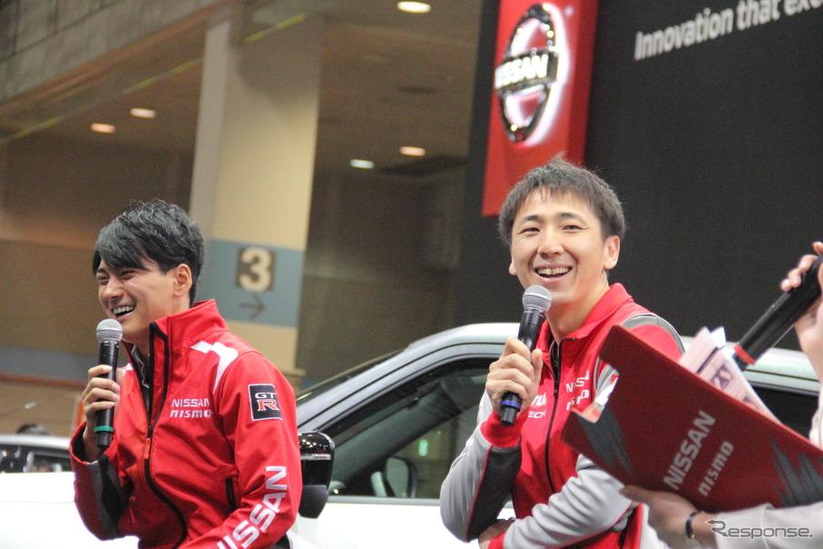 日産ブースでの松田次生、千代勝正によるトークショー