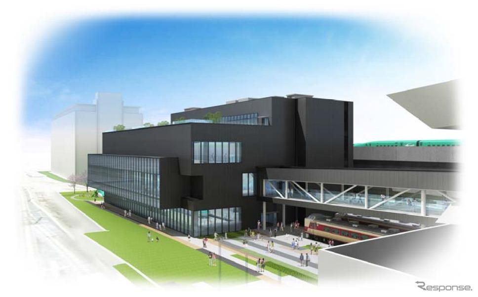 計画変更後の鉄道博物館新館のイメージ。2018年夏頃のオープンを目指す。