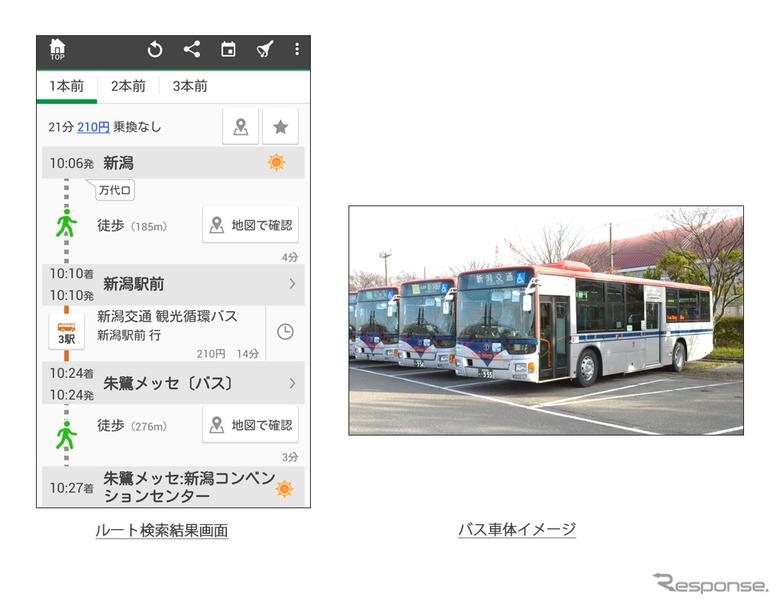 ルート検索結果画面と新潟交通のバス車体イメージ