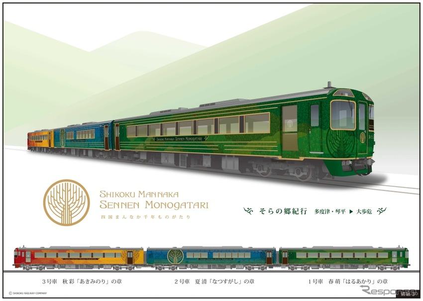 来年4月から運行される『四国まんなか千年ものがたり』のイメージ。キハ185系を改造する。