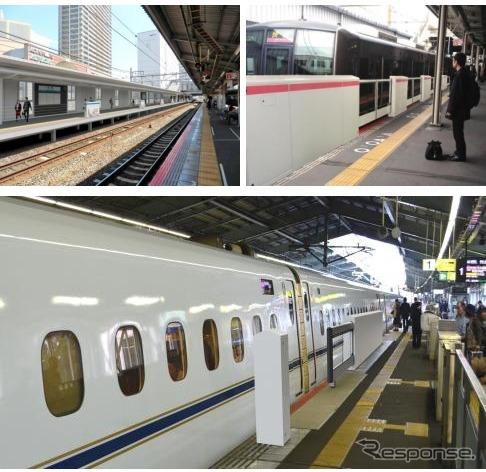 新たにホームドアが設置される高槻(左上)、京橋(右上)、新神戸(下)の3駅。高槻駅はロープが上下する昇降式ホーム柵が設けられる。