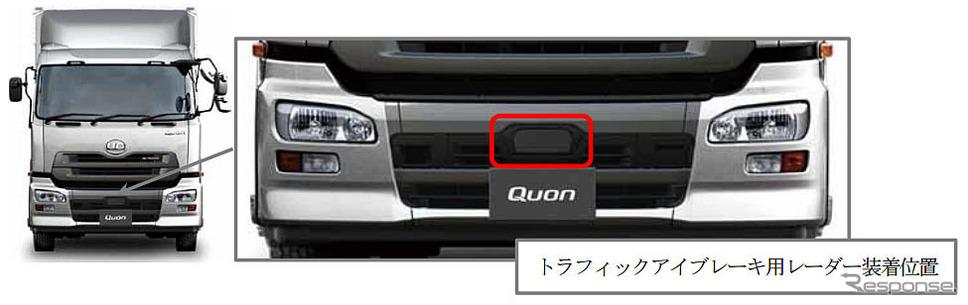 車両外観でクオン2014年モデルを識別する方法
