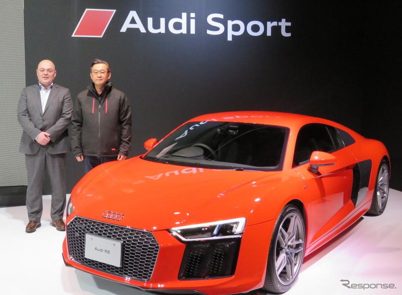 アウディ ジャパンの斎藤社長(左はquattro GmbHのA.ワトキンス氏)。