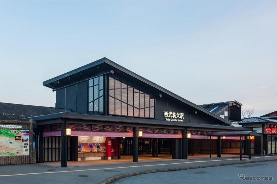 西武秩父駅の「和風化」が完了…温泉施設も近日オープン