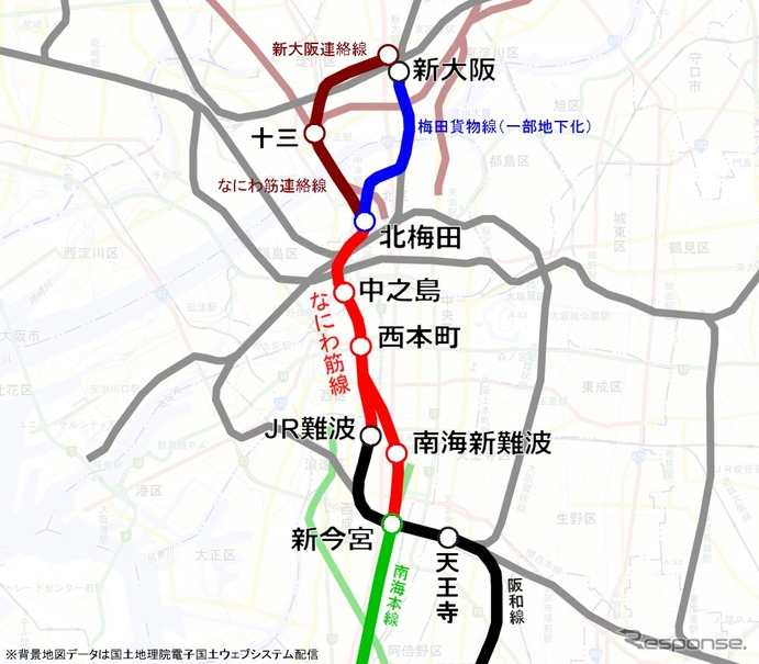 なにわ筋線などの新線構想の想定ルート。なにわ筋線は新大阪駅や北梅田の開発エリアから難波・関空方面に短絡するルートを構成する。