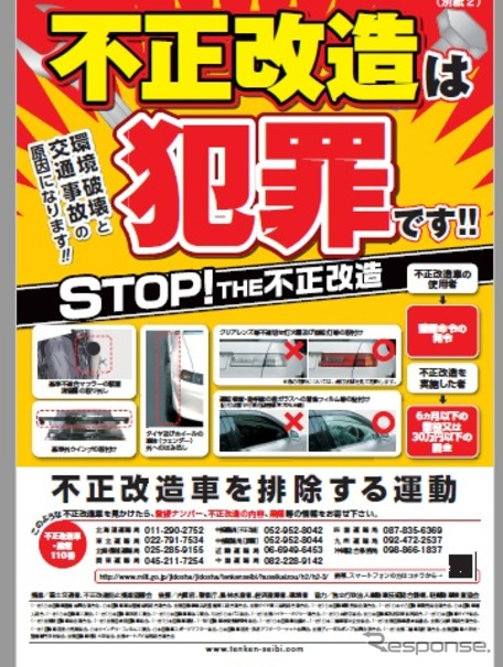 「不正改造車を排除」街頭検査169回実施…国土交通省計画 6月