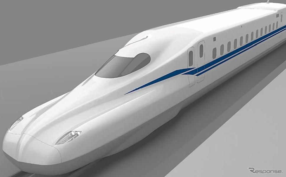 JR東海の新型新幹線「N700S」の先頭部イメージ。左右両サイドにエッジを立てた形状を採用する。