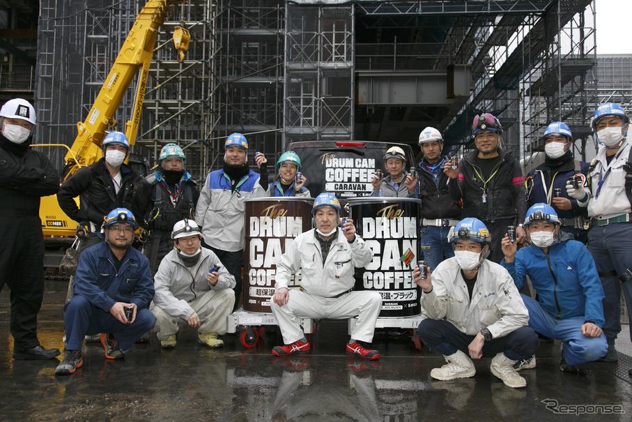 超巨大な「ドラム缶コーヒー」を差し入れ 常盤橋プロジェクト建設現場 ...