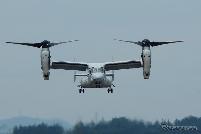 7月21日、札幌での航空イベントでの展示を終え、普天間まで戻る途中で横田基地に立ち寄ったMV-22 オスプレイ。