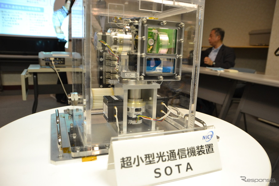 日本でも超小型衛星に光通信装置を搭載し通信実験を行う準備が進められている。写真はNICTの開発した衛星光通信モジュールSOTA