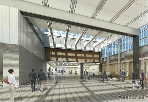 名古屋駅の新しい高層ビル「JRゲートタワー」は2015年度冬の上棟を予定。画像はオフィスエントランス(15階)のイメージ。