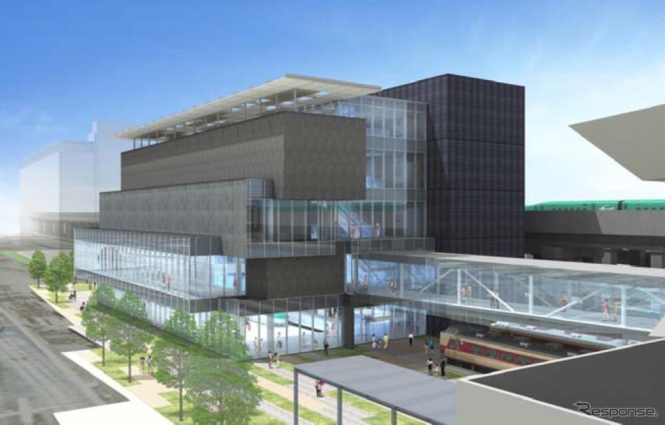 鉄道博物館の本館の南側に建設される新館のイメージ。2017年秋のオープンを目指す。