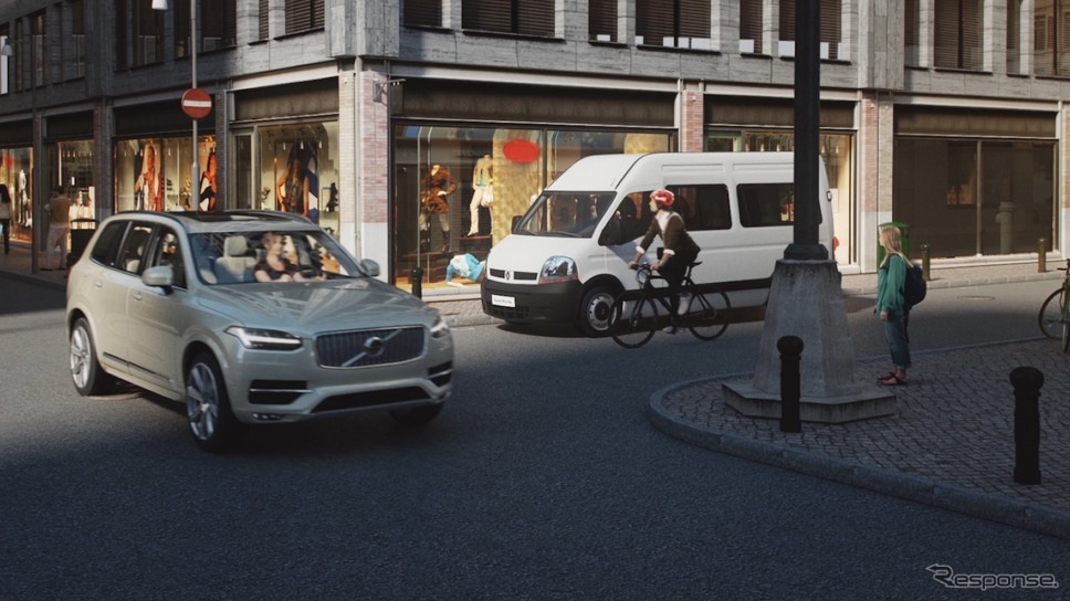 ボルボカーズの車と自転車の衝突防止システムのイメージ