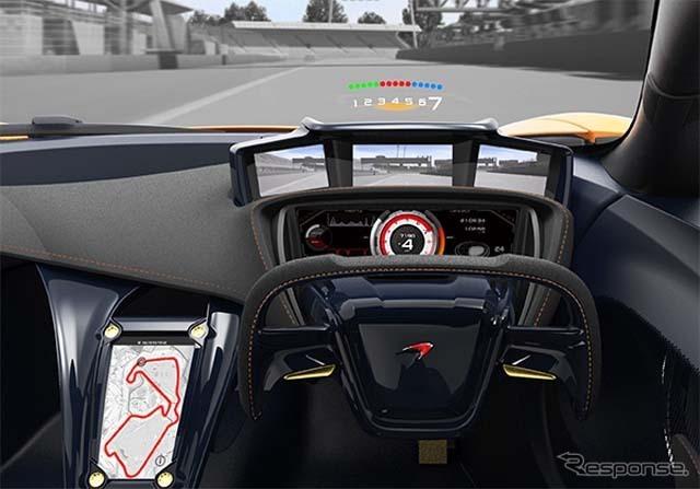 ヘッドアップディスプレイや電子メーター、フルHDカメラを組み合わせ、ドライバーをサポートする
