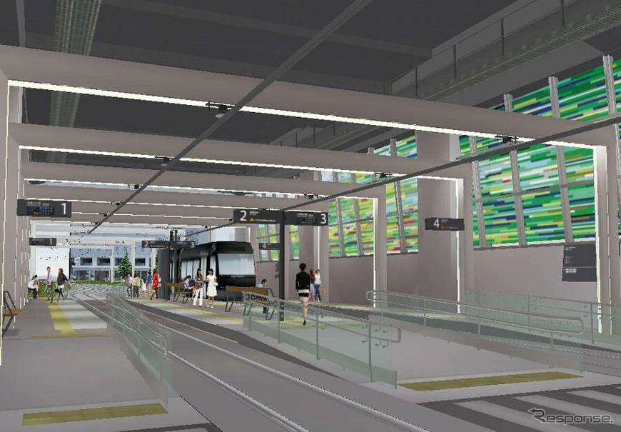 富山駅の北陸新幹線高架下に設けられる富山駅停留場のイメージ。3月14日から富山地鉄の市内電車が乗り入れる。