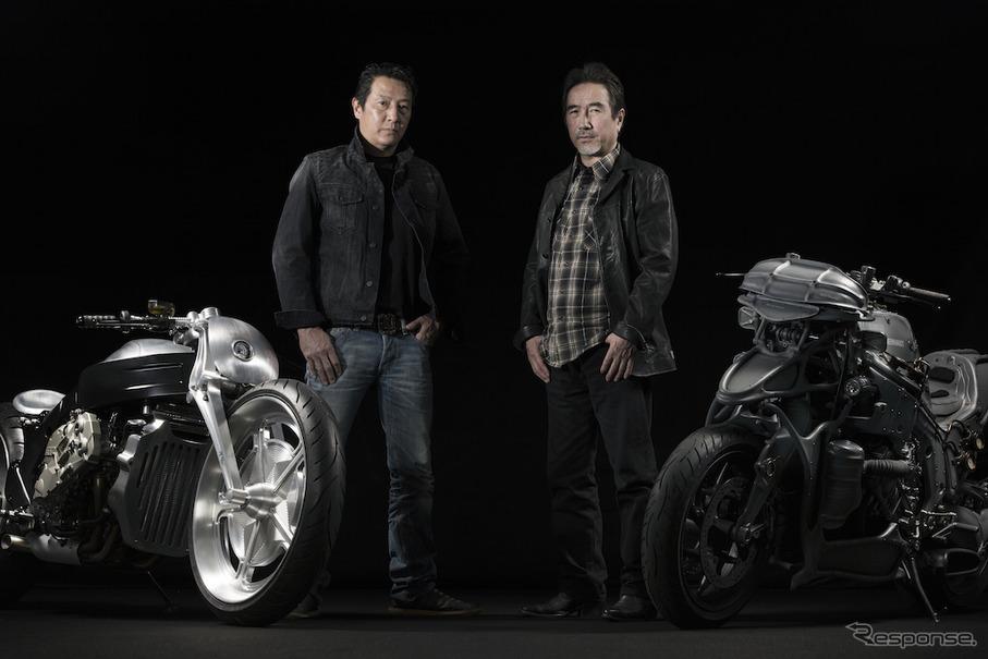 HOT-DOCK CUSTOM-CYCLESの河北啓二氏とKen's Factoryの永井健次氏。