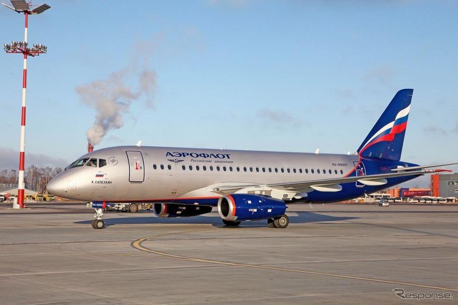 アエロフロート・ロシア航空のSSJ-100型機(RA-89057)