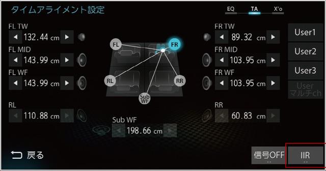 「タイムアライメント」の設定画面(ダイヤトーンサウンドナビ・NR-MZ100PREMI)