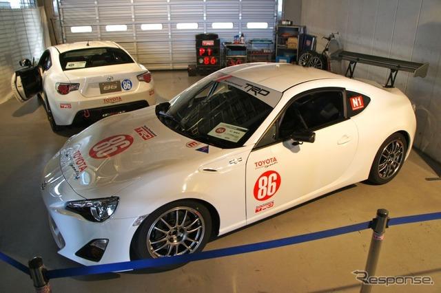 富士スピードウェイで先行公開されたトヨタ 86(ハチロク)、TDRは開発中の競技モデルを展示した。